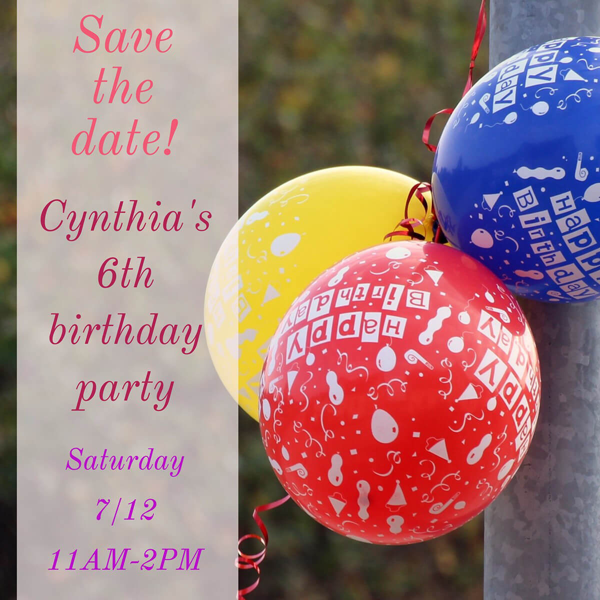 Cynthia's birthday party invitation