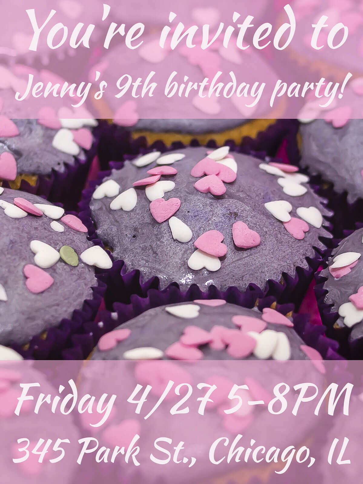 Girl's birthday party invitation